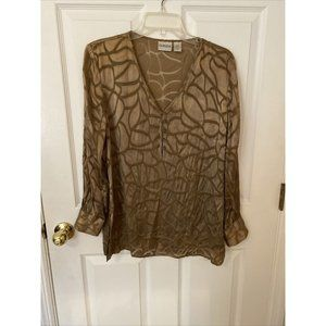 Chico's Size 1 Brown Sheer Light Blouse